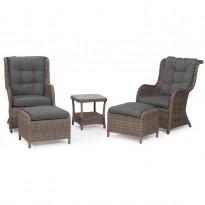 Sohvaryhmä Hampton (2 nojatuolia, 2 rahia, pöytä) ruskea/harmaa