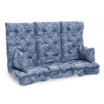 Istuinpehmuste Dalom pihakeinuun, 174x128x10cm, sininen kasmirkuviointi