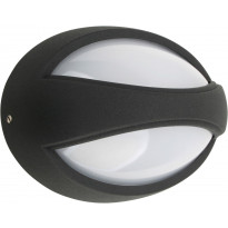 LED-seinävalaisin Heat Oval, 182x122mm, musta