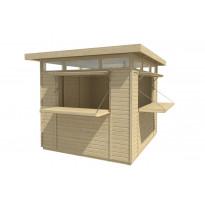 Kioski 2740x2410 mm 6,6 m² tasakattoinen puuvalmis