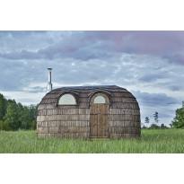Sauna Iglusauna Double, 2-osainen, 9 m², kuusi/haapa, puukiukaalla, eebenpuu/luonnollinen