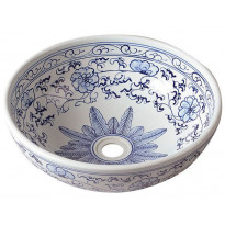 Keraaminen pesuallas Interia Priori, pöytätasolle, koristemaalattu, valkoinen/sininen, 420 X 420 X 150 mm