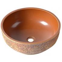 Keraaminen pesuallas Interia Priori, pöytätasolle, kohokuvioitu, ruskea, 430 X 430 X 160 mm