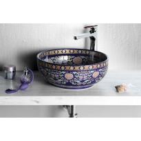 Keraaminen pesuallas Interia Priori PI022, pöytätasolle, koristemaalattu, violetti, 420 X 420 X 150 mm