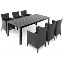 Ruokapöytä Tunis, 205cm, 6-istuttava, musta