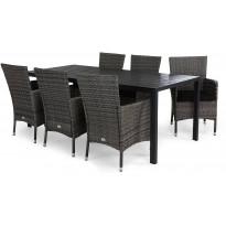 Ruokailuryhmä Tunis, 6 Thor tuolia + mustat pehmusteet, harmaa
