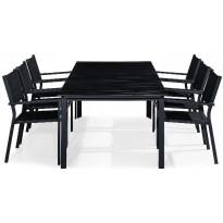 Ruokailuryhmä Tunis, 6 tuolia, musta