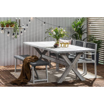 Ruokailuryhmä Visby, 3 tuolia + penkki, harmaa