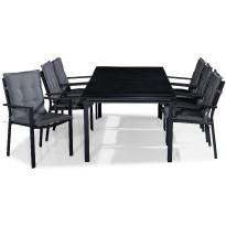 Ruokailuryhmä Tunis, 6 tuolia + harmaat pehmusteet, musta