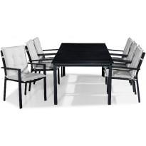 Ruokailuryhmä Tunis, 6 Tunis tuolia + valkoiset pehmusteet, musta