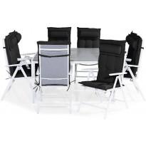 Ruokailuryhmä Tunis, 8 Maggie tuolia + mustat pehmusteet tyynyllä, harmaa