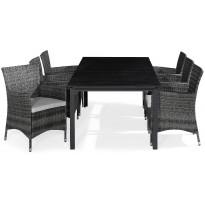 Ruokailuryhmä Tunis, 6 Thor tuolia + valkoiset pehmusteet, harmaa