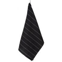 Kylpypyyhe Jokipiin Pellava Liituraita, sileä, 90x150cm, musta