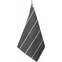 Käsipyyhe Jokipiin Pellava Liituraita, 75x50cm, tummanharmaa/valkoinen