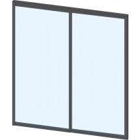 Terassin lasiliukuovi Keraplast, 2-os., harmaa, kirkas lasi, mittatilaus