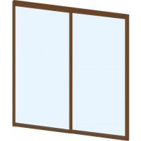 Terassin lasiliukuovi Keraplast, 2-os., ruskea, kirkas lasi, mittatilaus