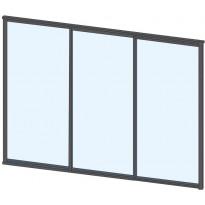 Terassin lasiliukuovi Keraplast, 3-os., harmaa, kirkas lasi, mittatilaus