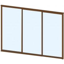 Terassin lasiliukuovi Keraplast, 3-os., ruskea, kirkas lasi, mittatilaus