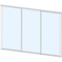Terassin lasiliukuovi Keraplast, 3-os., valkoinen, kirkas lasi, mittatilaus