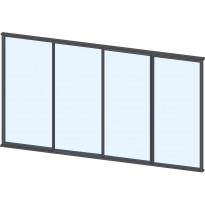 Terassin lasiliukuovi Keraplast, 4-os., harmaa, kirkas lasi, mittatilaus