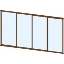Terassin lasiliukuovi Keraplast, 4-os., ruskea, kirkas lasi, mittatilaus