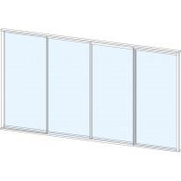 Terassin lasiliukuovi Keraplast, 4-os., valkoinen, kirkas lasi, mittatilaus