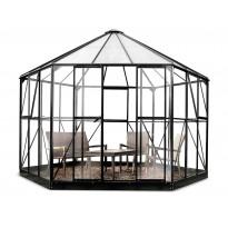 Kasvihuone Atrium 9,0m², musta alumiinirunko, turvalasit, kennolevykatto