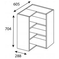 Yläkulmakaapin runko Ideal Keittiöt, 605x704x605 mm + 2 hyllyä