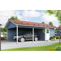 Autokatos KP10 yhdelle autolle + varasto, kaksi avointa sivua, varasto päädyssä