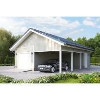 Autotalli KP41 autokatoksella + varasto päädyssä, kaksi autopaikkaa