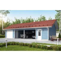 Autotalli KP75S autokatoksella + varasto sivulla, kolme autopaikkaa