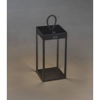 LED-lyhtyvalaisin Konstsmide Ravello, 30cm, ladattava, musta