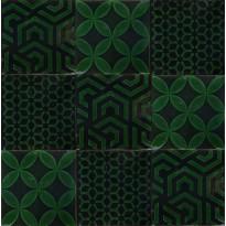 Kuviolaatta Kymppi-Lattiat History Jugend Antique Secor Green Mix 15x15cm, tummanvihreä