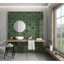 Seinälaatta Kymppi-Lattiat History Jugend Antique Green, 15x15cm, tummanvihreä