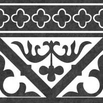 Kuviolaatta Kymppi-Lattiat History Oldenburg Black Cenefa, himmeä, 250x250mm
