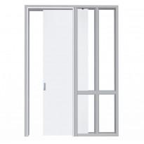 Liukuovi seinän sisään Liune LD16 Design, aukko 1010x2600mm, runko 66mm, valkoinen