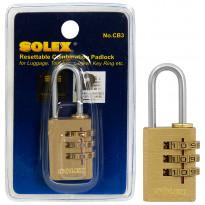 Numeroyhdistelmäriippulukko Solex, 20mm, messinki