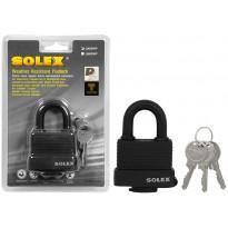 Riippulukko Solex, 65mm, laminoitu, vesitiivis, musta