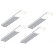 LED-kalustevalaisin Limente Zircon Tran, 4 kpl + virtalähde, 12V, alumiini