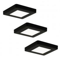 LED-kalustevalaisinsetti Limente LED-Leno 19, 80x80x12mm, 3x4.2W musta, Verkkokaupan poistotuote
