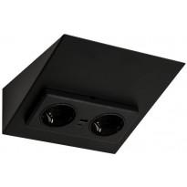 Pistorasia Limente Mini-2C USB, IP20, 58x162x170mm, musta