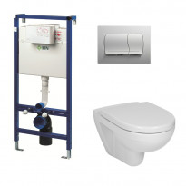 Seinä WC-istuinpaketti LIV FIX-530, valkoisella painikkeella ja Lyraplus istuimella sekä kannella