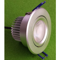 Alasvalo LED-BJ33 8W, 3000K 580lm Ø 85x55mm, suunnattava hopea
