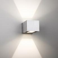 LED-seinävalaisin Wall Wave 2x3W 3000K 2x225lm IP54 70x125x80mm kaksisuuntainen harjattu alumiini