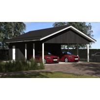 Lupakuvien paperikopiot kahden auton avoimelle katokselle kylmällä varastolla, Aarni, kerrosala 21 m², runko 42x98 k950 ja kattokaltevuus 1/2,5