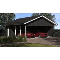 Lupakuvien paperikopiot kahden auton seinälliselle katokselle kylmällä varastolla, Aarni, kerrosala 21 m², runko 42x98 k950 ja kattokaltevuus 1/2,5