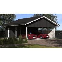 Lupakuvien paperikopiot kahden auton vaakarimoitetulle katokselle kylmällä varastolla, kerrosala 21 m², runko 42x98 k950 ja kattokaltevuus 1/2,5