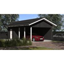 Lupakuvien paperikopiot yhden auton seinälliselle katokselle kylmällä, Aarni, kerrosala varastolla 13 m², runko 42x98 k950 ja kattokaltevuus 1/2,5