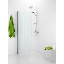 Suihkuovi IDO Showerama 10-41, 700x2000 mm, kaareva, kirkas lasi, mattahopea profiili, nuppivedin