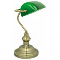 Pöytävalaisin Bankir 188x216x395 mm antiikkimessinki/vihreä